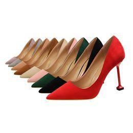 2019 zapatos de pedicura Moda sexy pedicura era delgado zapatos de tacón alto de las mujeres bombas estilete tacón alto ante boca poco profunda zapatos en punta jooyoo zapatos de pedicura baratos