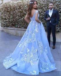 ligne de robe mère enfant Promotion Beau bébé bleu robes de bal avec des appliques de dentelle hors de l'épaule étage longueur élégante robes de soirée