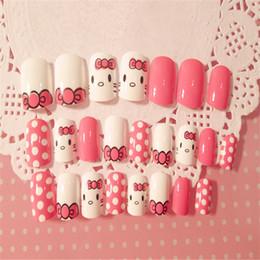 jolis ongles sucrés Promotion 24pcs nouvelle qualité supérieure rose sweet cute cartoon chat faux ongles patch bricolage bijoux art décoratif design ongles accessoires outils