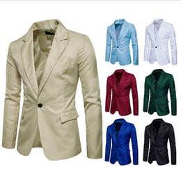 green jacket costumes Promo Codes - Fashion Brand Designer Men's Clothing Blazer Men One Button Slim Fit Costume Homme Casual Suit Jacket Masculine Blazer Size M-3XL