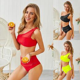 2019 bikini singoli Costumi da bagno sexy separati da donna di moda europea e americana con cuciture a maglia a spalla singola e costume da bagno bikini a due pezzi OS19019 bikini singoli economici