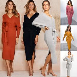 red de vestidos Rebajas CUILANGXUAN 3500 # 5 color S-XL de las mujeres atractivas de vestido bodycon estiramiento Midi señoras que hacen punto de manga larga con cuello en V suéter Jumper