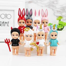 50 PCS 8 CM-10 CM Kewpie boneca Sonny Anjo Unicórnio Diabo Cupid Mini Animais Dos Desenhos Animados Coelho Boneca Do Cavalo Bonito Bolo Brinquedos modelo boneca crianças presentes de