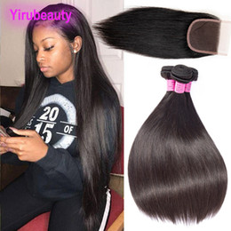 malaysian products Coupons - Malaysian Human Hair Straight 3 Bundles With 4X4 Lace Closure Middle Three Free Part Malaysian Virgin Hair Products