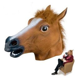 niedliche lippenstift-designs Rabatt Großhandels-Einzelverkauf 2019 neue Art gruselige Pferdemaske-Kopf-Halloween-Kostüm-Theater-Stützen-Neuheit Latex-Kautschuk Kostenlose Lieferung