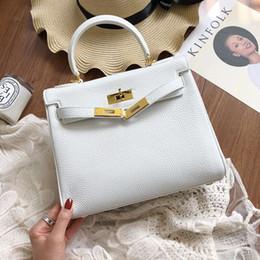 2019 sacos de ombro de couro branco 25 cm 28 cm 32 CM Marca Mulheres Totes cor Branca Suave Genuíno sacos de Ombro em couro senhora Bolsa de Alta Qualidade fotos Reais sacos de ombro de couro branco barato