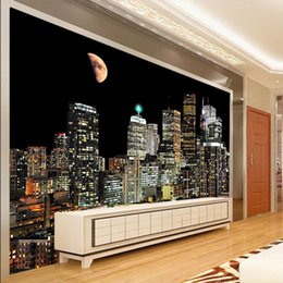 city bedroom wallpaper Coupons - 3D City tall building night view modern style large mural wallpaper living room TV background bedroom sand background wallpaper