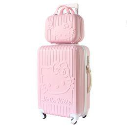 Bolsas de cosméticos para gatitos online-hello kitty Juego de maletas de viaje con ruedas Maletas con ruedas Maleta con ruedas Spinner Mujer Estuche cosmético Equipaje de mano Bolsas de viaje