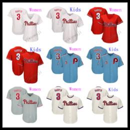 Refrigerador para niños online-Mujeres niños 3 Harper Jersey Bryce camisetas frescas Malla Retro Blanco Rojo Azul Crema Gris Base Jugador Camisetas de béisbol