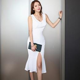 c8586b39d445 abiti femminili Sconti 2019 coreano Dongdaemun elegante femminile senza  maniche semplice sottile abito a fessura tratto