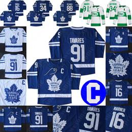 camisa de futebol feminino Desconto Toronto Maple Leafs 91 John Tavares Jersey C remendo Auston Matthews Mitchell Marner Frederik Andersen Hockey Jerseys Homens Mulheres Juventude Azul
