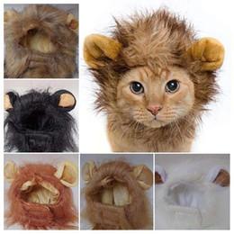 2020 cabelo de gato leão Cat Pet Emulação Lion Cabelo Mane Orelhas Cabeça Caps Hats Cat Dress Up Peruca Pet Puppy peruca engraçado Lion Chapelaria Hat desconto cabelo de gato leão