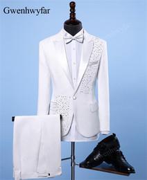 2019 cristal de smoking Gwenhwyfar Jacket + Pants Moda Men ternos de casamento Blazers Slim Fit Crystal White Male Cantor DJ Casual Suit Ternos Tuxedo Luxo cristal de smoking barato