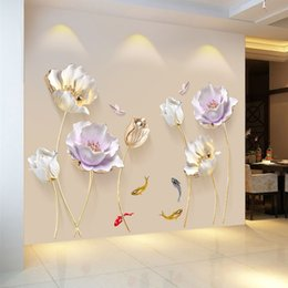 Décor de salle de bain chinois en Ligne-Style chinois Fleur 3D Papier Peint Stickers Muraux Salon Chambre Salle De Bains Home Decor Décoration Affiche