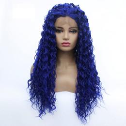 Großhandel tief lockig Spitze-Front-Perücke blau Haar hitzebeständige Fasern synthetischen Spitze-Front-Perücke Glueless Halb Hand für alle Frauen Gebunden von Fabrikanten