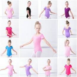 2019 leotardi latini Bambini Ginnastica Body Cotton Spandex Manica corta Bambini Costumi di danza Latino Balletto di danza Tuta Bambini Esercizio Vestiti HHA369 leotardi latini economici