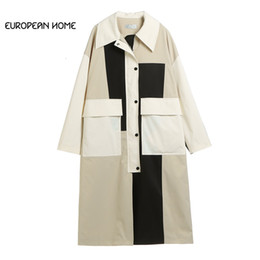 formato dei vestiti 2019 del progettista originale della molla del cappotto Trench le donne più rappezzatura in bianco nero lungo casuale allentato