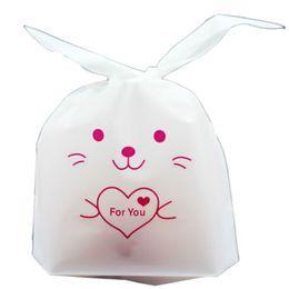 Bolsa de regalo de plástico de galletas online-50 unids / lote Kawaii Conejo Oreja Bolsas De Plástico Caramelo Galleta Embalaje Bolsa Favor de La Boda Caja de Regalo Ducha de Bebé Fiesta de Boda decoración