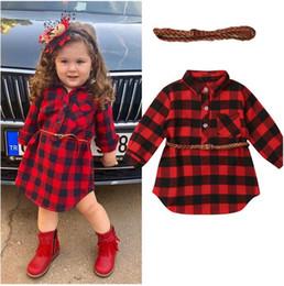 recém-nascido vermelho vestidos de bebê Desconto Baby Girl Red Buffalo Verifique Vestem-nascidos bebê bebê meninas Princesa Vestido Vermelho Camisa Xadrez Vestido com roupas Belt crianças Vestidos