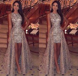 63ff1a06aaf84 Discount black mini dress detachable train - 2019 Stunning Silver Appliques  Short Evening Dresses with Floor