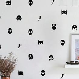 2019 maschere di ferro Adesivi murali maschera eroe Kids Boy Bedroom Decor, Ironman Flash Vinyl Art decalcomanie della decorazione della casa maschere di ferro economici
