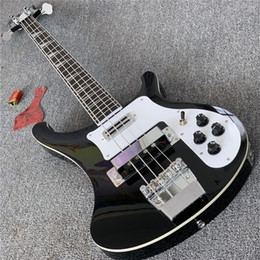 Guitarras rick on-line-Livre ShippingCustom Shop, 4003 guitarra elétrica, Preto Rick bass guitar, Branco Guardplate, guitarra