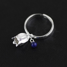 2020 anelli di lapis disegno originale Handmade campanula 100% autentico 925 turchese d'argento lapis campanello lazuli gioielli boutique donna anelli di lapis economici