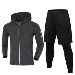 Faux vêtements de sport en Ligne-2018 YD New Warm Avec Velvet Running Set Hommes Veste + Fake Deux Pièces Sport Suit Hommes Gym Vêtements En Plein Air Formation Sportswear # 780215