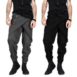 Falda Punk gótica Pantalones Harem Pantalones Hiphop para hombre Moda Cremallera irregular Pantalones Slim Fit Pantalón de vestir Pantalon Hombre desde fabricantes
