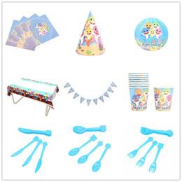 Tenedor cuchillo para fiesta online-9 estilos (87 piezas) / Set Baby Shark Party Supplies Artículos de fiesta de cumpleaños Banderas coloridas de triángulo Bandeja de papel Taza Cuchillo Tenedor Cuchara L245