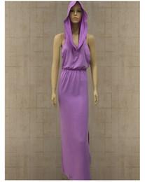 abito medievale donna viola Sconti Stilista vestito da vampiro di Halloween Vestito da cappello senza maniche con spacco posteriore con perdita di liquido Sexy Abiti da donna color nero e viola 2019