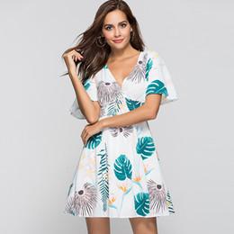Dresse mulheres curtas on-line-Mulheres verão boho plus size manga curta impressão dress com decote em v senhoras casual solto dress férias férias praia dresse