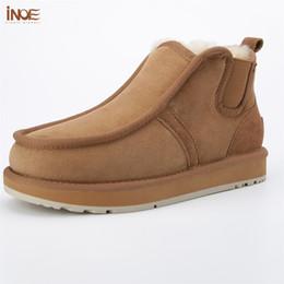 Vera pelle di pecora foderato stivali di pelle online-Beckham stesso stile vera pelle di montone in pelliccia di lana foderato corto stivali da neve per uomo lace-up stivali invernali scarpe nere marrone # 358018