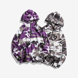 Homme violet camouflage lettre à capuche mince couche manteau ample Pull facile Manches longues Pur coton Campus College Veste Pull oversize ? partir de fabricateur