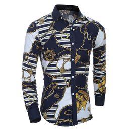 Forma magro da camisa on-line-Homens Flor Camisa 2019 Novo Outono 3D Impressão Moda Casual Slim Fit Camisas de Vestido Havaiano Camisa Masculina Chemise Homme