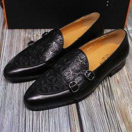 zapatos de cuero modernos Rebajas 2019 zapatos de invierno clásico Hebilla Hombres deslizamiento de zapatos de cuero genuina en vestido casual zapatos de novia de visita moderna de