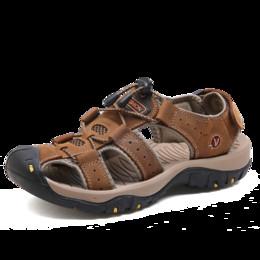 Hommes En Cuir En Plein Air Sandales Nouvel Été En Plein Air Chaussures Sport Sandales Mâle Respirant Plage Pantoufles PU ? partir de fabricateur