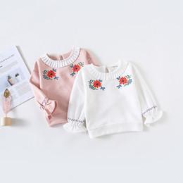 Las niñas bebés bordado de la flor de la colmena Tops sudaderas manga larga O cuello tul primavera camiseta ropa Casual Hoodies Pullover Top desde fabricantes
