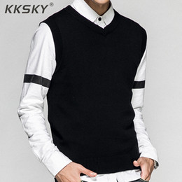 black sleeveless sweater Coupons - 2019 New Style Men's Vest Pullover Solid Color Sweater 100% Cotton Autumn And Winter Sleeveless Casual Sweater Hot Sale For Male