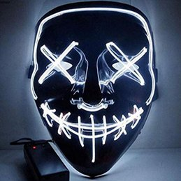 2019 accesorios de bola de mascarada Máscara de Halloween el Creative Holloween Wire Led Light Ghost Dance Máscara brillante Hombres Mujer Máscara negra para decoración de fiesta