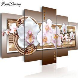 Bordado orquídea on-line-Praça cheia / redonda Ponto Branco Borboleta Orquídea Flores 5 pçs / set 5d DIY Pintura Diamante Multi-fotos diamante bordado FS3917