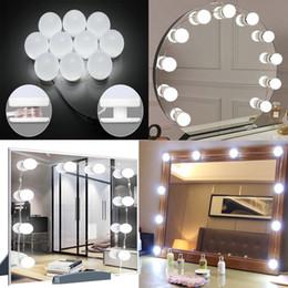 USB LED Hollywood trucco dello specchio della luce 10LEDs lampadina Bagno Dressing Cosmetic Camera lampada da tavolo Vanity Make Up Specchi Luci da interruttori lucidi cromati fornitori