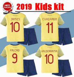 70b1e7f49 2019 kids kit Colombia Home JAMES Soccer Jerseys youth boy capo america  2019 FALCAO CUADRADO AGUILAR GUARIN C.SANCHEZ football shirt