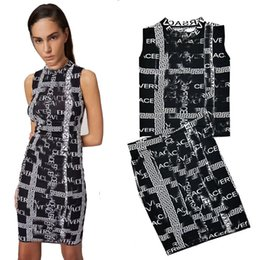 ice belts Coupons - LossJacquard Weave Letter Sleeveless Vest + Package Buttocks Half Body Skirt 2 Piece Dress Suit A Thin Piece Of Ice