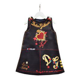 2019 meninas vestido de verão sem mangas amor do coração Impresso A-line vestido de princesa roupa vestidos bebé crianças grife boutique ST653 de