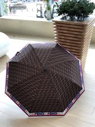 Brown Full F Letra Guarda-chuva Clássicos Marca de Impressão de Alta Qualidade Guarda-chuva Guarda-chuva Dobrável Automático Para Homens E Mulheres de