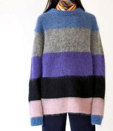 misturar camisola Desconto Chegam novas Womens Albah Mohair Multi Mix Tarja Pullover Sweater Oversize