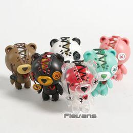 ursinho de peluche preto e rosa Desconto Raggedy Teddy Pink Panda Luminosa Brown Fantasma Preto Mini PVC Figuras Urso De Pelúcia Bonecas Brinquedos 6 pçs / set