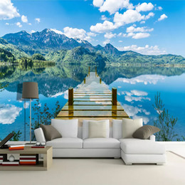 Lago murale online-Personalizzato Mural Wallpaper Room Blue Sky White Clouds Ponte di legno Lake Water Nature Landscape 3D Creative Space Art Wall Painting