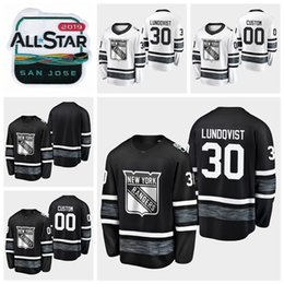2019 All Star Game  30 Henrik Lundqvist Customize New York Rangers Hockey  Jerseys Black White Jersey Stitched Shirts 70d87f9a9